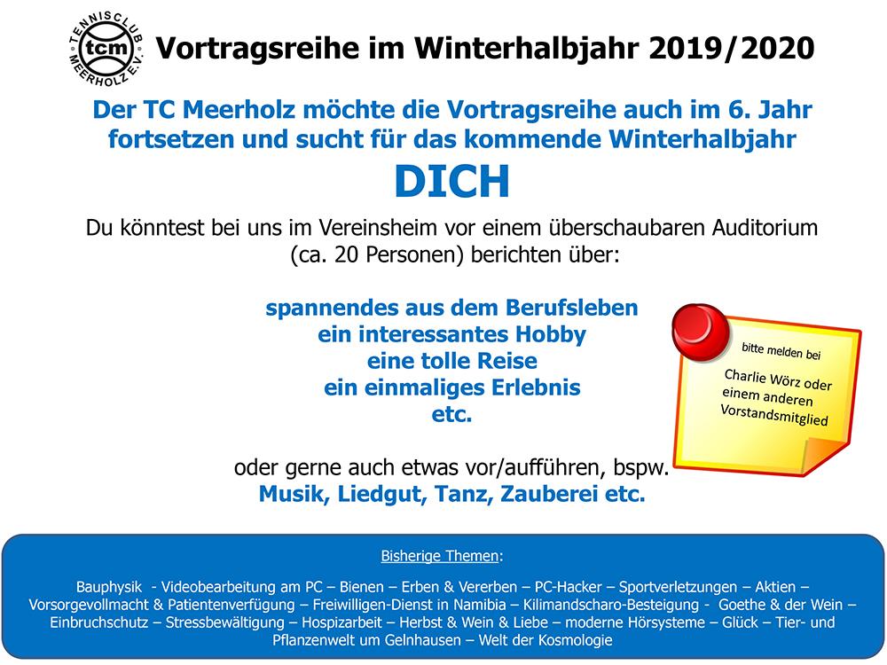 Vortragsreihe im Winterhalbjahr 2018/2019